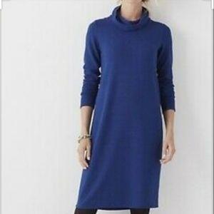 J Jill Wearever Co. Blue Ribbed Mock Neck Dress S